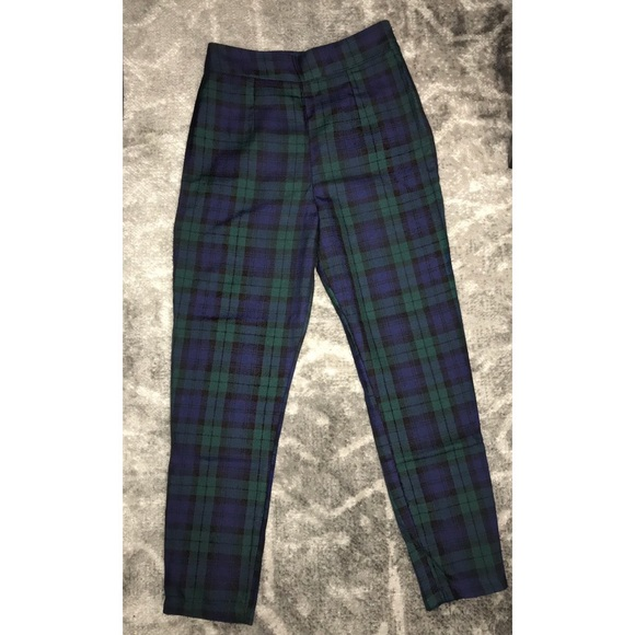 1990/'s Green and White Check Trousers
